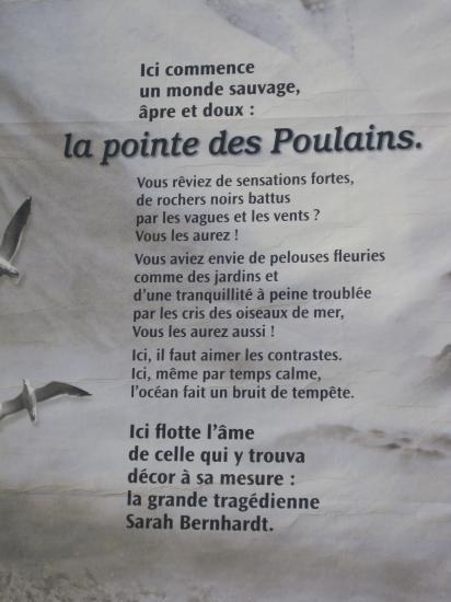 Texte sur la Pointe des Poulains